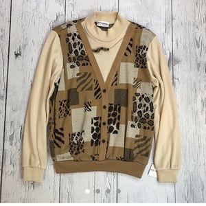 Vintage 80's leopard / cheetah print sweater Small